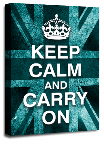 Keep Calm Carry On Wall Art Teal White British Flag